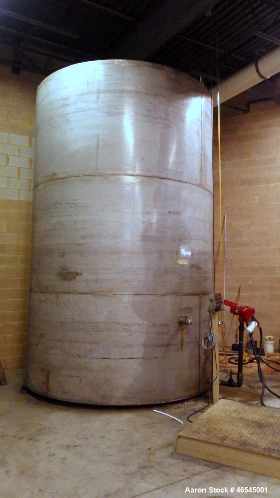 "Used-Lewis Metals Corp Tank, 7684 Gallon, 304 Stainless Steel, Vertical.  114"" Dia. x 174"" Straight Side, Flat Top and Flat ..."