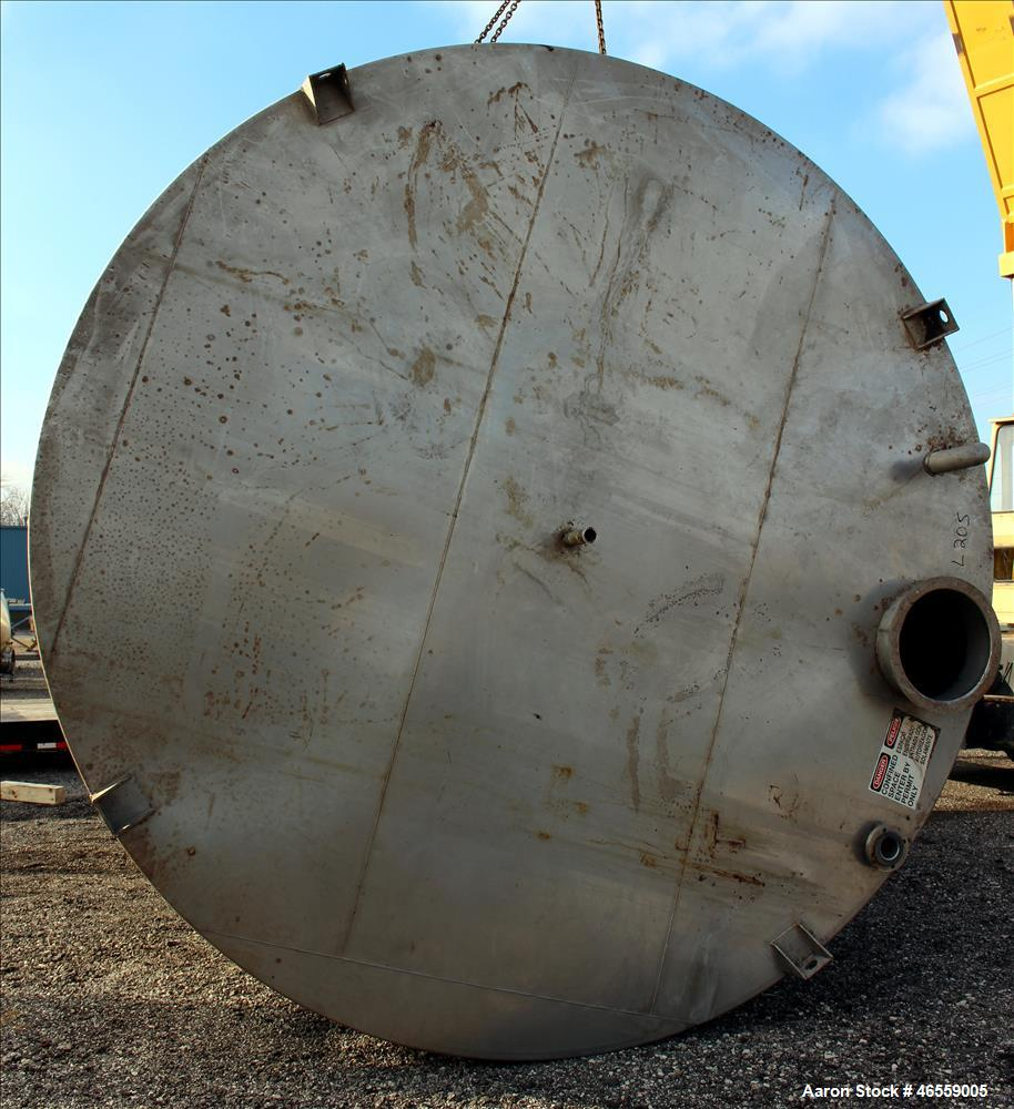 "Used- Tank, 15,000 Gallon, 316 Stainless Steel, Vertical. Approximate 148"" diameter x 228"" straight side. Flat top, flat bot..."