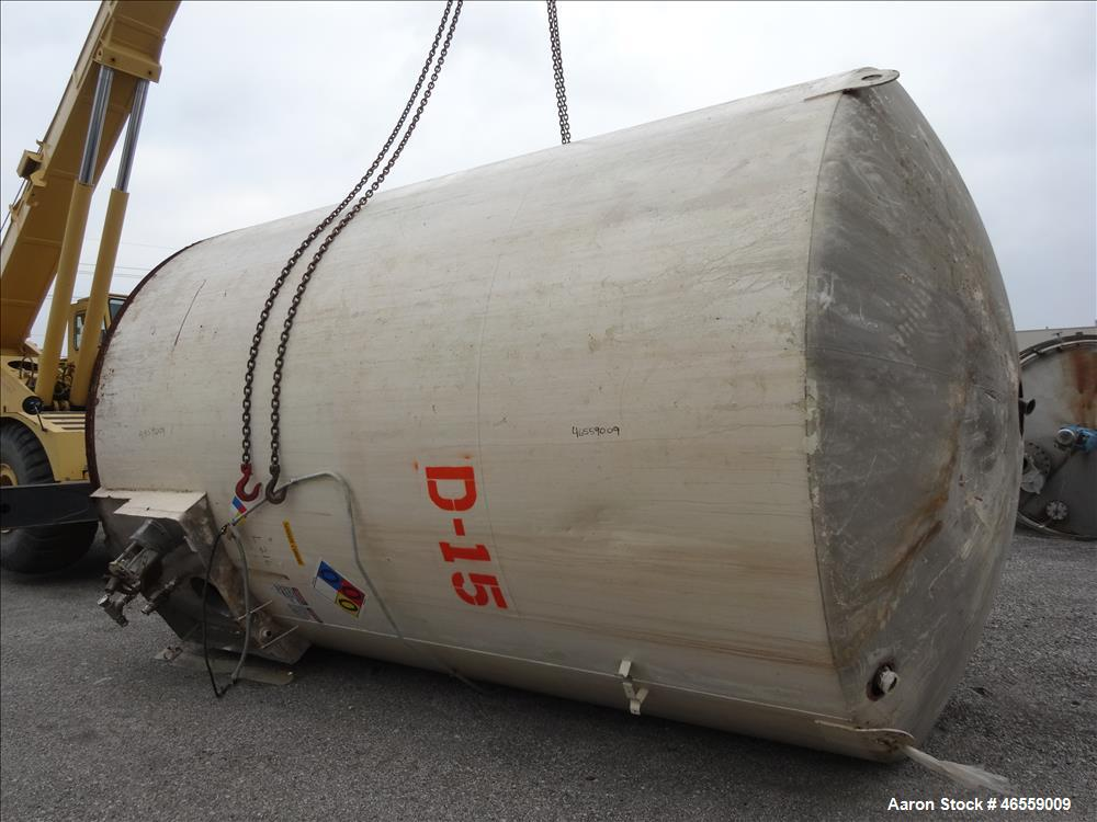 "Used- DCI Tank, 10,000 Gallon, 304 Stainless Steel, Vertical. Approximately 132"" diameter x 196"" straight side. Dished Top, ..."