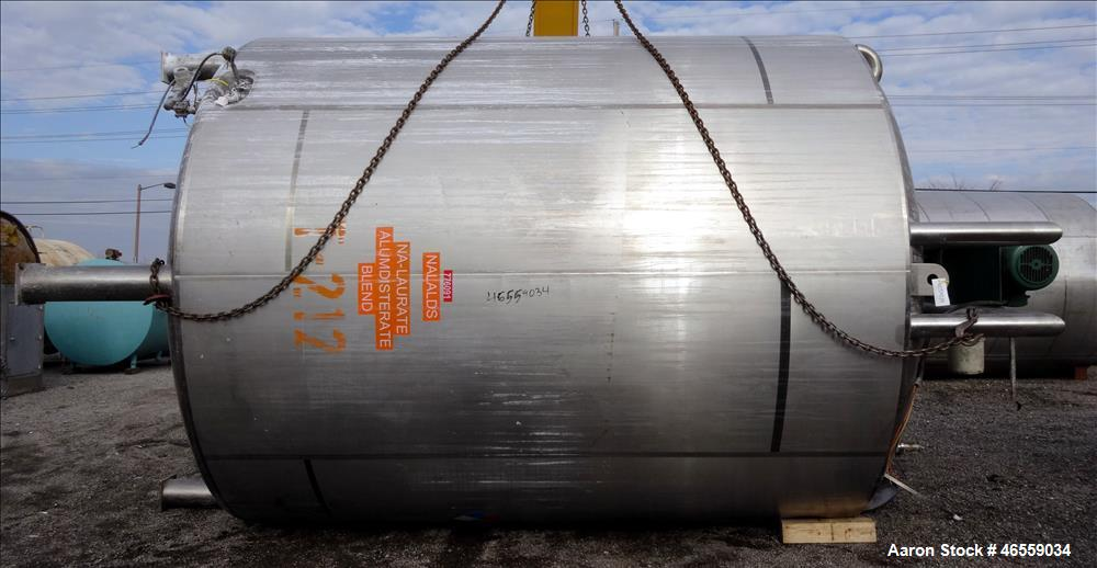 "Used- Precision Stainless Mixing Tank, 12,000 Gallon, 316L Stainless Steel, Vertical. Approximate 144"" diameter x 166"" strai..."