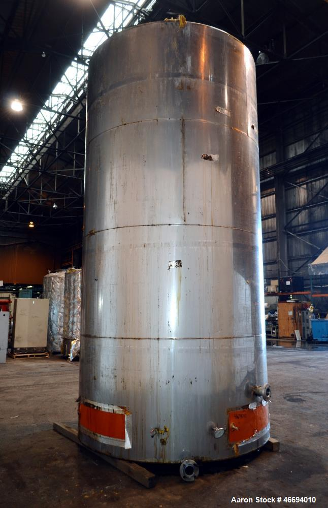 "Used- Tank, Approximate 6000 Gallon, 304 Stainless Steel, Vertical. Approximate 96"" diameter x 192"" straight side, coned top..."