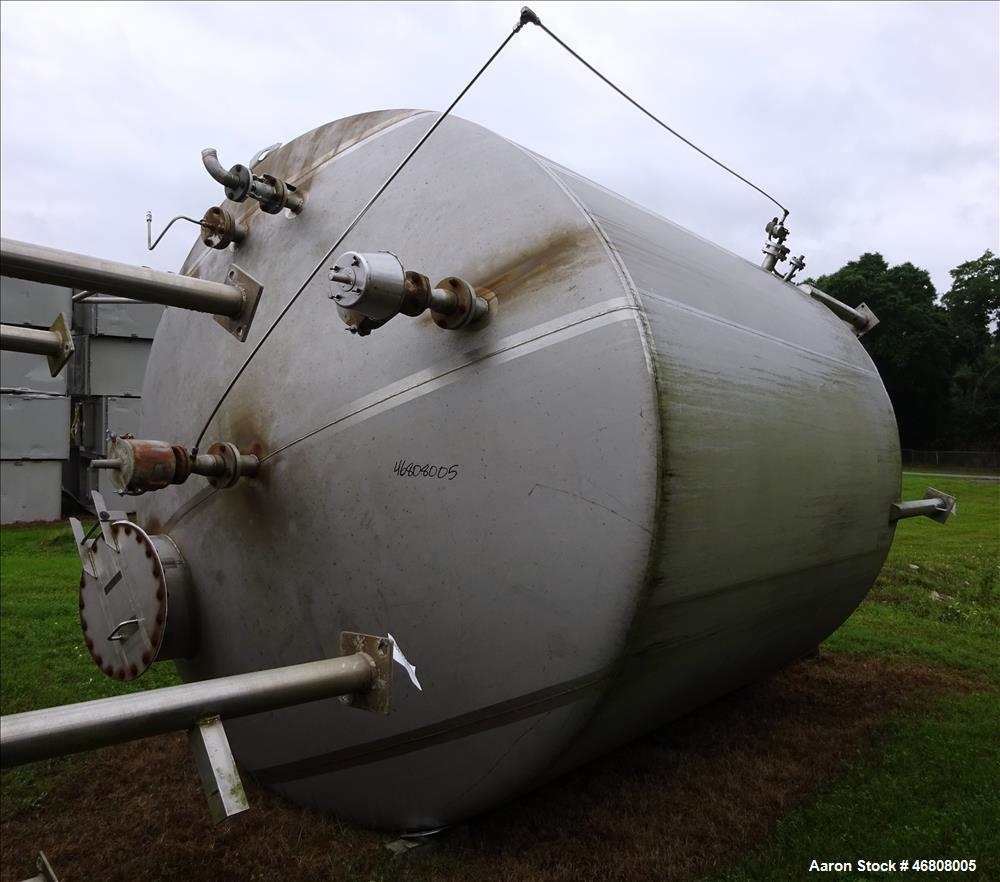 "Used- Walker Stainless Tank, 7500 Gallon, 304L Stainless Steel, Vertical. 132"" Diameter x 144"" straight side, dished top and..."