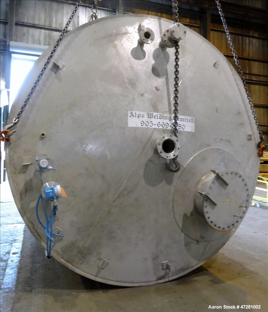 "Used- ALPS Welding Limited Tank, 43,000 Liters / 11,360 Gallons, 304L Stainless Steel, Vertical. Approximate 130"" diameter x..."