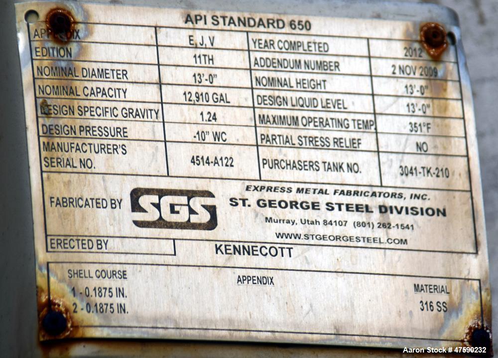 Unused- St. George Steel (SGS) API Standard 650 Tank, 12,910 Gallon