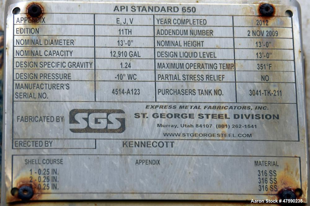 Unused- SGS St. George Steel API Standard 650 Tank