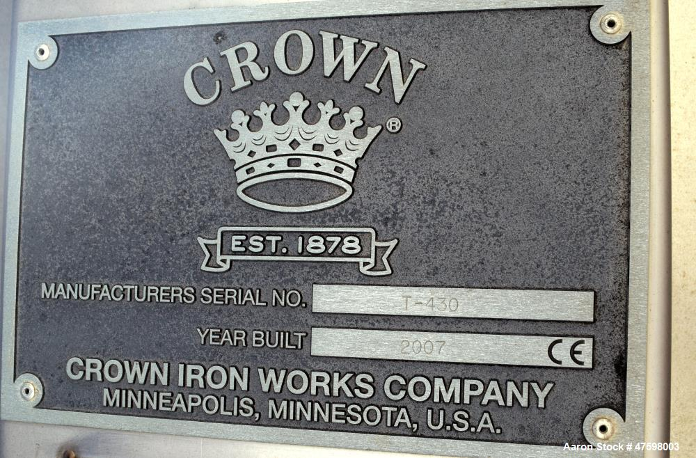 Unused- Crown Iron Works Pressure Tank, 10,600 Gallon, 304 Stainless Steel, Vert