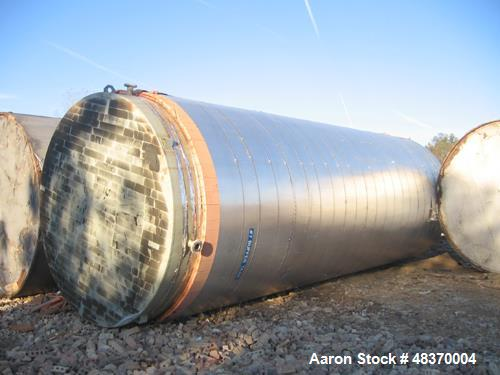 "Used- Tank, 25,000 Gallon, 316 Stainless Steel, Vertical. 144"" diameter x 360"" straight side. Conical top, flat bottom. Open..."