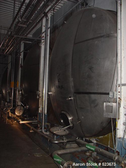 "USED: Tank, 55,957 gallon, 304 stainless steel. 13'3"" diameter xapproximately 54' long. Horizontal on carbon steel cradle fr..."
