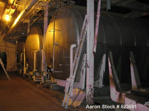 "Used- Tank, 42,748 Gallon, 304 Stainless Steel, Horizontal. 13'3"" diameter x approximately 41' long. Horizontal on carbon st..."