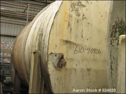USED: 15,500 Gallon, 304 stainless steel, storage tank. Horizontalconstruction, 12' diameter x 18' straight side, dished end...