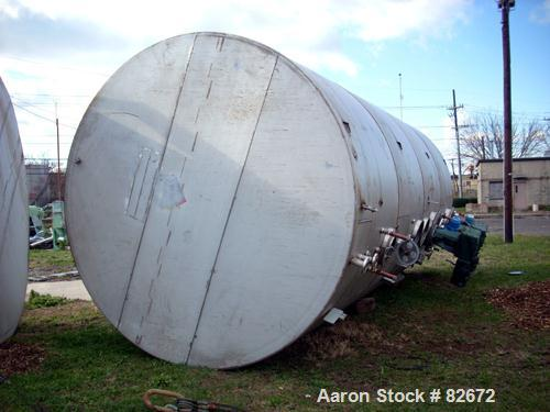 "Used- Clawson Tank 15,000 Gallon Horizontal 304 Stainless Steel Tank. 10'6"" diameter x 23'4"" long. Flat heads. Four compartm..."