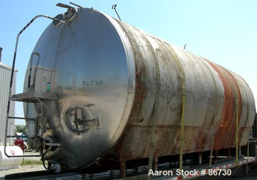 "USED: Cherry Burrell tank, model EH, 10,000 gallons, 304 stainless steel, horizontal. 110"" diameter x 243"" straight side, di..."