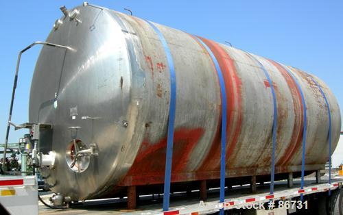 "USED: C E Howard tank, 10,000 gallon, 304 stainless steel, horizontal. 110"" diameter x 245"" straight side, dished heads. App..."