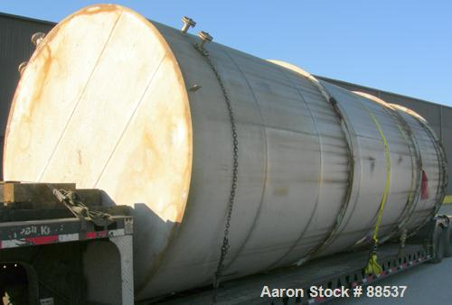 "USED: Tank, 17,800 gallon, 316 stainless steel. Approximate 10'6"" diameter x 27'6"" straight side. Slight cone top and flat b..."