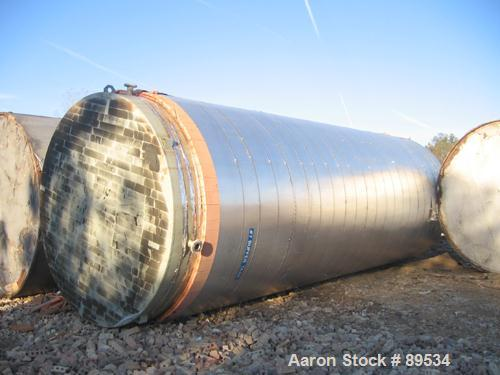"USED: Tank, 25,000 gallon, 316 stainless steel, vertical. 144"" diameter x 360"" straight side. Conical top, flat bottom. Open..."