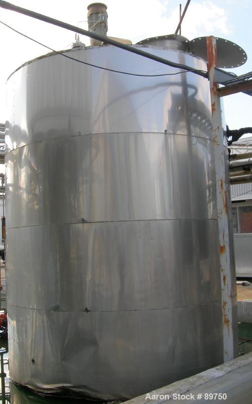 "USED: Approximate 6000 gallon stainless steel mix tank. Approximate 9' diameter x 140"" straight side. Dish top, flat bottom,..."