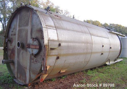 "Used- Tank, Approximate 16,000 Gallon Stainless Steel, Vertical. Approximate 120"" diameter x 25' straight side x 8' cone bot..."