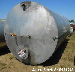 6,000 Gallon Eisenback Vertical Tank. 8' diameter x 16' straight side. 304 stainless steel. Slight ...