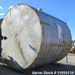 10,000 Gallon Stainless Steel Storage Tank. 12' diameter x 12' T/T. Flat bottom and cone top.