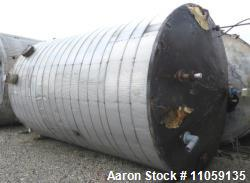 9,000 Gallon Stainless Steel Storage Tank. 10' diameter x 16' straight side. Cone top, flat bottom.