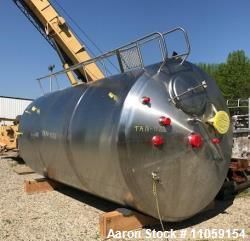 Used- 5000 Gallon Cherry Burrell Sanitary Jacketed Mix Tank. 316 stainless Steel. 8' diameter x 14' T/T. Jacket rated for 10...
