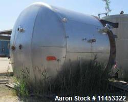 "11,500 Gallon Stainless Steel Storage Tank. 12'6"" diameter x 11' straight side, dish top and bottom..."