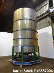 Used-Perry Tank, 10,400 Gallon. Stainless steel.  10' diameter x 16' straight side.  Flat Top, Slight Cone Bottom.  Stiffeni...