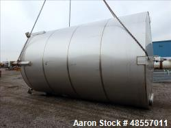 "Used-Tank, Approximately 10,000 Gallon, Stainless steel.  10' 6"" diameter x 17' straight side. Dish Top, Slight Cone Bottom...."