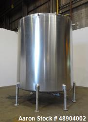 Used- Single Wall Tank, Approximate 5000 Gallon, Stainless Steel, Vertical.