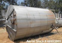 Used- Tank, Approximate 12,000 Gallon, Stainless Steel tank, Vertical. Approximately 11' diameter x 16' straight side, cone ...