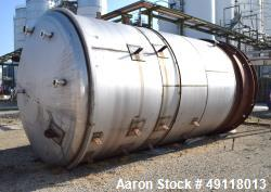 "Unused- Central Fabricators Tank, 8,000 Gallon, Stainless Steel, Vertical. Approximate 114"" diameter x 178"" straight side, d..."