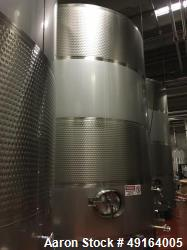 Used- Paul Mueller 12,000 Gallon, White Wine Fermenting Tank, Stainless Steel, Vertical. Model DF, Slope top and bottom. 140...